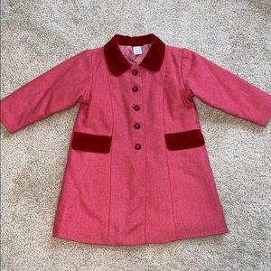 Baby GAP light raspberry red wool coat girls sz 4